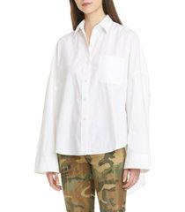 women's r13 oversized poplin shirt, size small - white