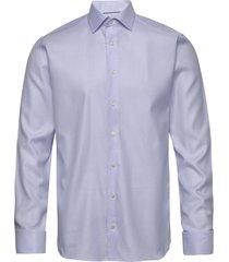 micro weave twill shirt - french cuffs overhemd business blauw eton