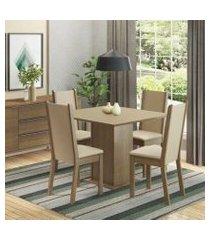 conjunto sala de jantar madesa alana mesa tampo de madeira com 4 cadeiras rustic/crema/pérola