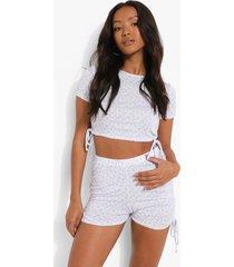 petite geplooide bloemenpatroon pyjama set met shorts, lilac