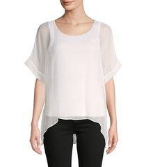 high-low silk-blend top