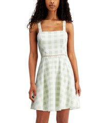 city studios juniors' checkered bow-back fit & flare dress