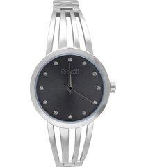 paris 3h orologio in acciaio silver con quadrante nero con strass e bracciale semirigido per donna