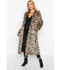plus leopard faux fur longline coat, brown