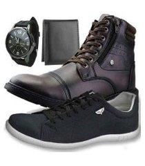 kit bota dhl masculino + sapatênis + relógio + carteira slim