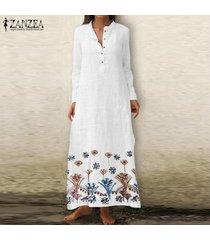 zanzea camisa de vestir larga de playa de manga larga con cuello en v floral para mujer vestido largo de kaftan -blanco