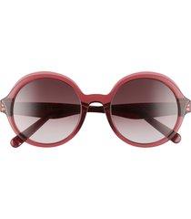 salvatore ferragam gancini 52mm round sunglasses - crystal burgundy/wine gradient