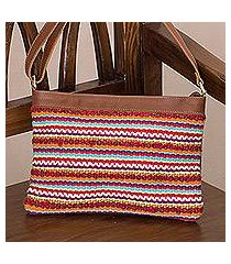 leather accent cotton blend shoulder bag, 'desert dawn' (peru)
