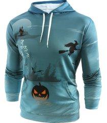 halloween pumpkin print pullover pocket hoodie