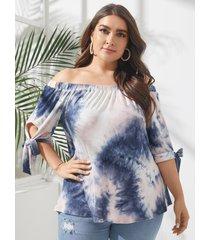 yoins blusa con diseño anudado con hombros descubiertos y talla grande
