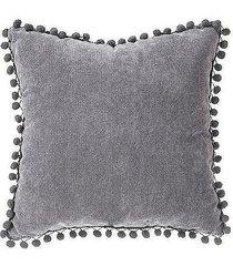 poduszka dekoracyjna pompons szara