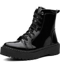 bota coturno  vittal tratorada verniz preto - preto - feminino - dafiti