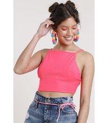 top cropped feminino carnaval frente única canelado sem bojo rosa neon