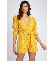 macaquinho divni de laise amarelo - amarelo - feminino - renda - dafiti