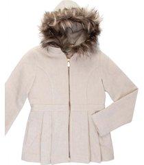 casaco lã capuz removível gingga baby e kids pérola