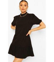 cotton high neck puff sleeve shift dress, black