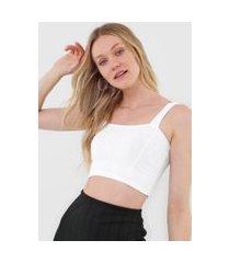 cropped salvatore top faixa comfy malha canelada branco