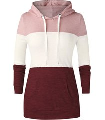 plus size colorblock pocket knit pullover hoodie