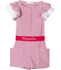 striped jumpsuit with printed logo