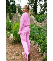 womens shake knit off sweater and pants lounge set - pastel pink
