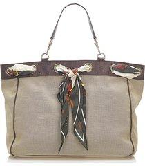 gucci positano scarf canvas tote bag brown, beige, brown, dark brown sz: l