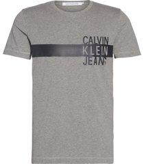 stacked logo w stripe slim t-shirt gris calvin klein