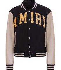 amiri vintage applique varsity jacket