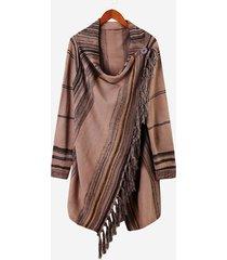 cappotti con collo a scialle lavorato a maglia da donna a maniche lunghe a righe