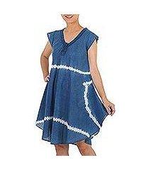 tie-dyed cotton short sleeve dress, 'sprite' (thailand)