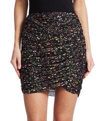 numan gathered floral mini skirt