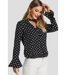 polka dot choker neck keyhole cutout ruffle sleeves blouses