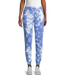 lea & viola women's tie-dyed cotton jogger pants - tie dye - size m