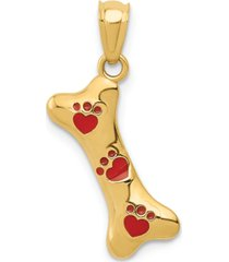 dog bone enamel charm pendant in 14k gold