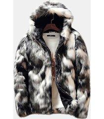 giacca da uomo casual con cerniera e cappuccio in pelliccia sintetica foderata in pile sintetico invernale