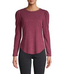 shirttail-hem long-sleeve top