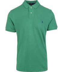 man billiard green and navy blue slim-fit pique polo shirt