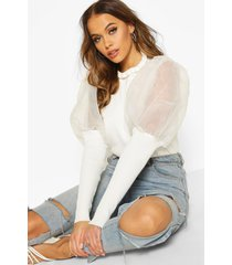 high frill neck sweater with organza puff sleeve, white