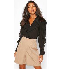tall chiffon ruffle detail blouse, black