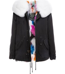 jazzy mini parka with multicolor fur lining