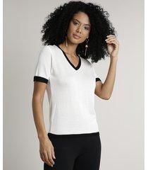 blusa feminina bicolor em tricô manga curta decote v off white