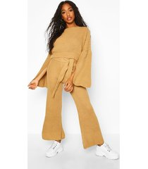 knitted trouser & sweater co-ord, camel