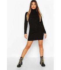 longline rib knit tunic dress, black