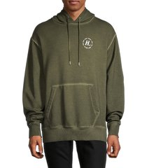 helmut lang men's overdyed logo terry hoodie - green - size xxl