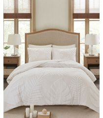 madison park bahari king/california king 3-pc. tufted cotton chenille palm duvet cover set bedding