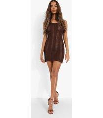 gehaakte mini jurk met halter neck, chocolate