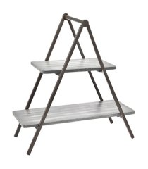 godinger grey wash wood & metal two tier server