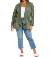 plus size women's blanknyc faux suede drapey jacket, size 3x - green