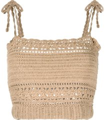 she made me tie-shoulder crochet cropped top - neutrals
