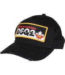 dsquared2 black cotton cap