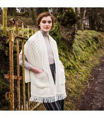 merino wool pocket shawl cream